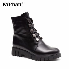 KvPhan Women's Winter Shoes High Quality Plush Wool Cow Suede Winter Ankle Boots With Platform Zip Big Size Brand Women Shoes