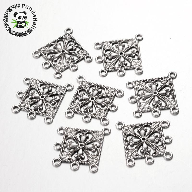 Antique Silver Tibetan Style Rhombus Chandelier Component Links for Dangle Earring Making, Lead Free and Cadmium Free and