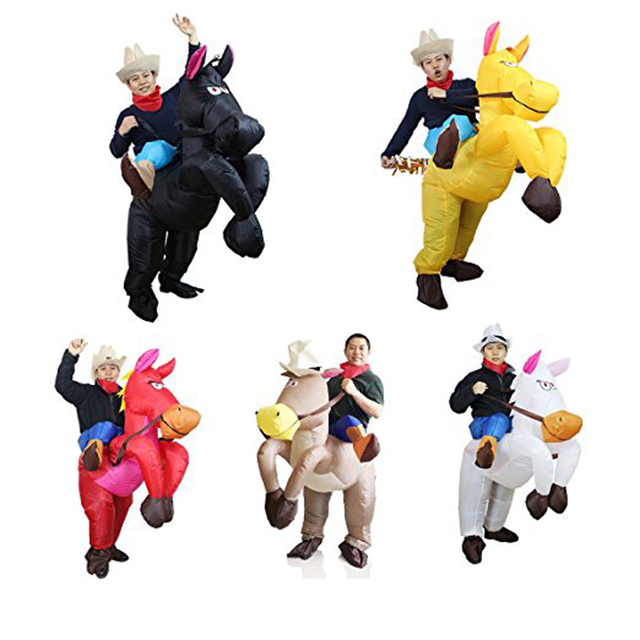 Halloween Costume for Adult Inflatable Horse Costumes Air Blown Purim Carnival Funny Dress Animal Cosply Costume Hen Stag Night