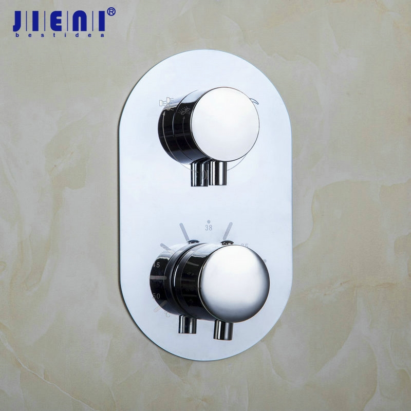 JIENI Wall-Mounted Shower Faucet Control Valve Mixer Tap Single Handle W/ Diverter Thermostatic yanksmart wall mounted thermostatic faucet double handles faucet spout filler diverter chrome bathtub shower faucet valve mixer