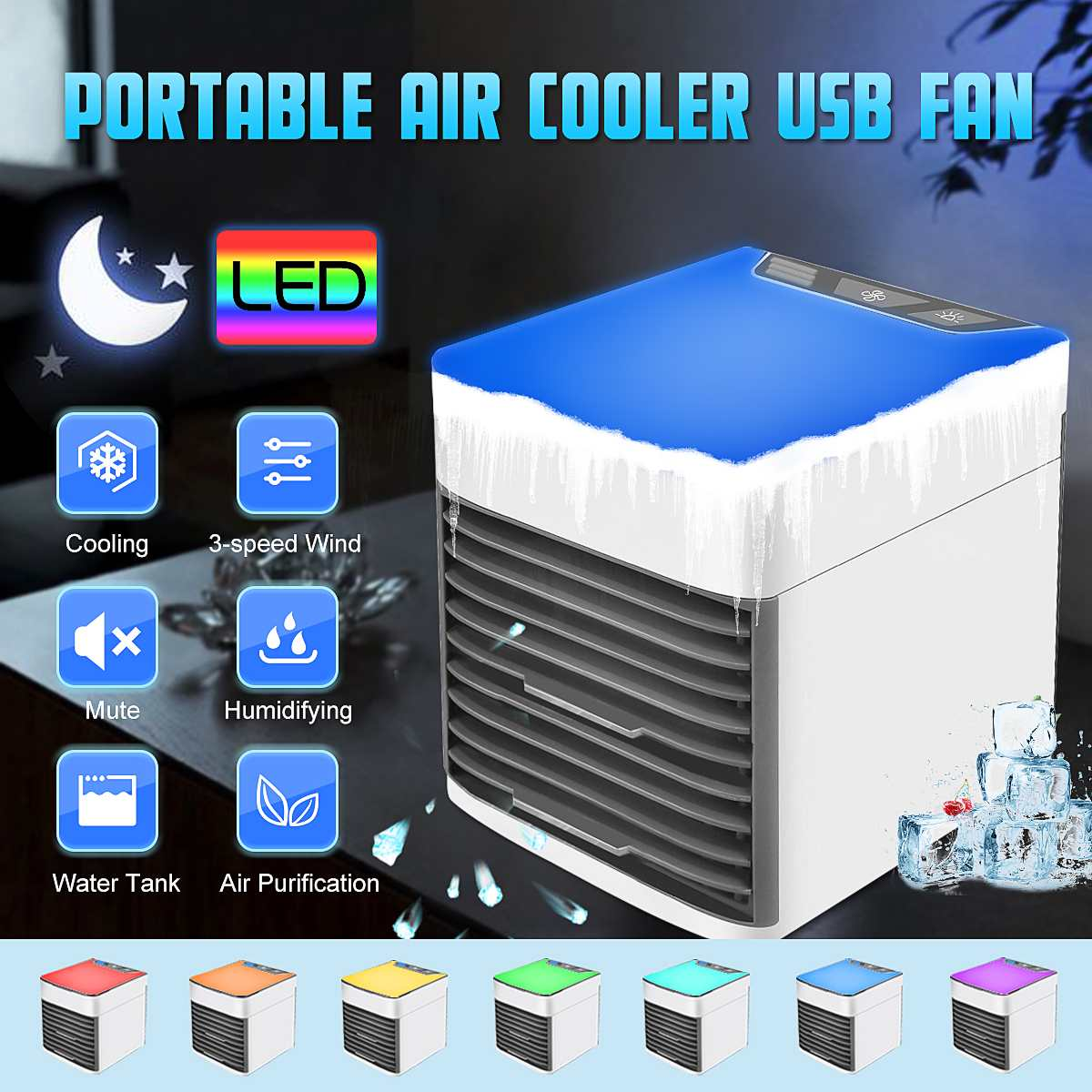 Mini 3Speed Portable Air Conditioner 7 Colors USB LED Night Light Air Humidifier Purifier Filter Desktops Air Cooling Cooler FanMini 3Speed Portable Air Conditioner 7 Colors USB LED Night Light Air Humidifier Purifier Filter Desktops Air Cooling Cooler Fan