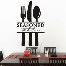 seasoned with lore fork knife scoop diy wall decalsblack pattern vinyl art sticker