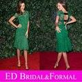 Миранда керр изумрудно-зеленый вечернее платье с коротким рукавом длиной до колен кружева с открытой спиной знаменитости красном ковре