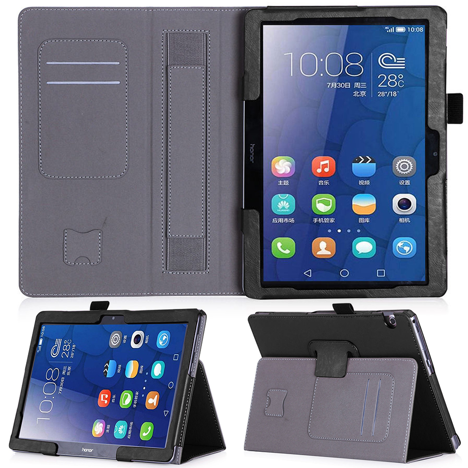 Case for Huawei MediaPad T3 10 9.6 Luxury PU Leather Funda Cover for Funda Honor Play Pad 2 Tablet+Free Screen Protector+Pen ultra thin smart flip pu leather cover for lenovo tab 2 a10 30 70f x30f x30m 10 1 tablet case screen protector stylus pen
