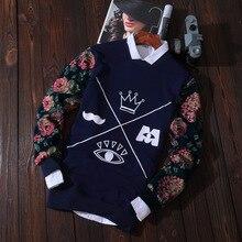 Neue Herbst Herren Druck Japanischen Crown Blumen Deer Graphic Sweatshirts Langarm Pullover Casual Coolen Männlichen Hoodies Street Tops