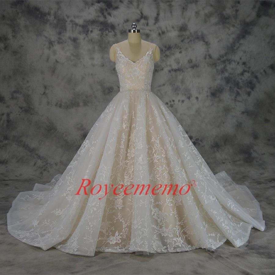Vestido de Noiva nieuwe kant baljurk trouwjurk luxe champagne en - Trouwjurken - Foto 2