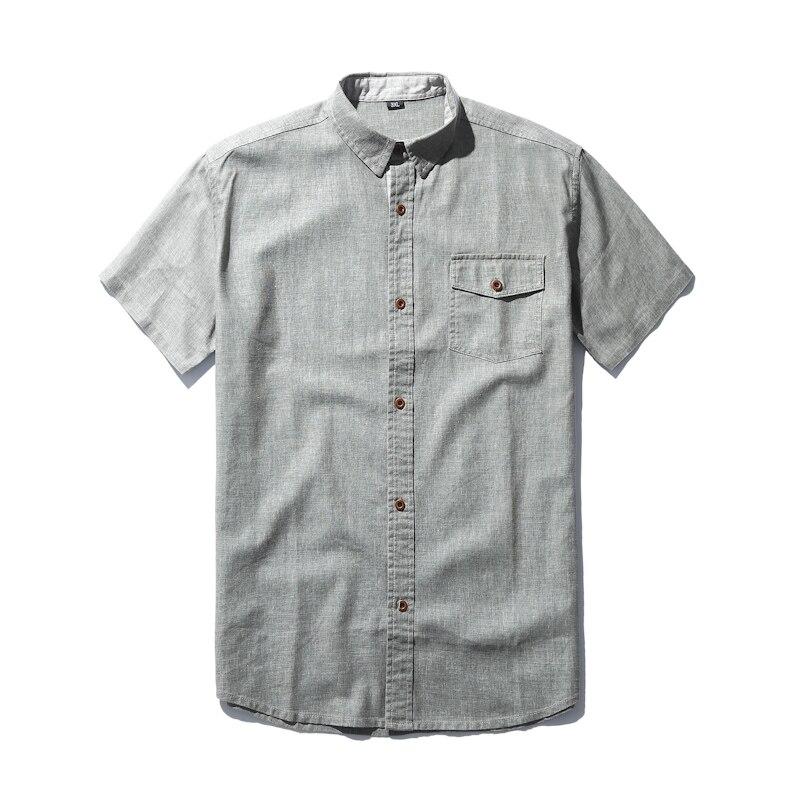 Livraison gratuite grande taille chemise en lin XXXL 4xl 6xl 7xl décontracté été style hommes militaire slim fit à manches courtes grandes chemises