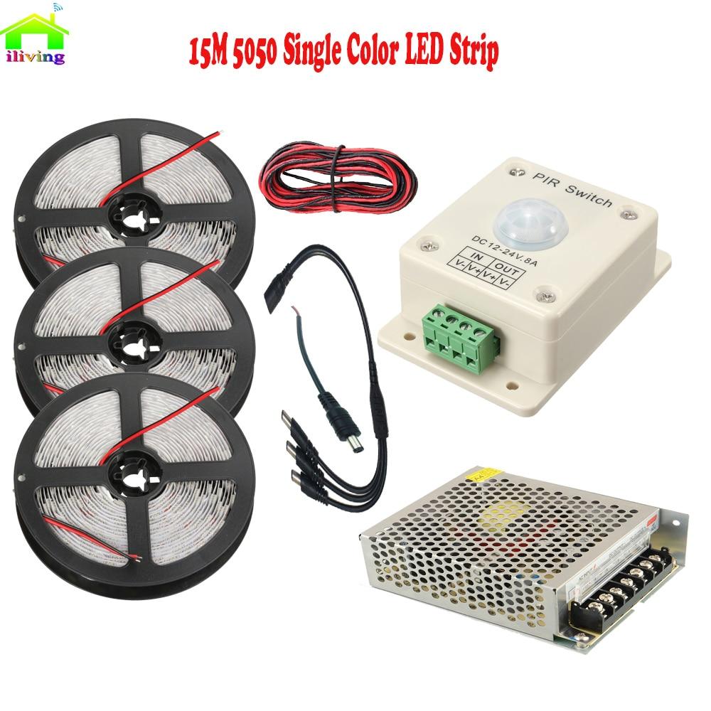 5M 10M 15M 5050 SMD LED Strip Diode Tape Tiras Dengan PIR gerakan sensor pengesan inframerah suis suis hangat putih / merah / biru / hijau