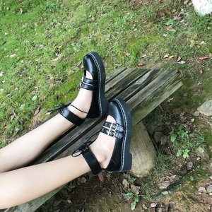 Image 5 - 로리타 신발 Uwabaki JK 라운드 발가락 버클 스트랩 레이스 업 일본 학교 학생 제복 드레스 여자 블랙 귀여운 로우 컷 펌프