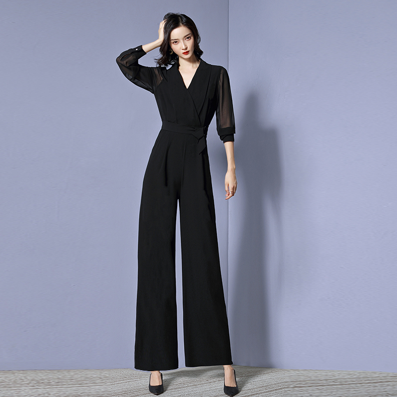 Women V neck Solid Color Elegant Jumpsuit OL Lady Work Office Wear in Jumpsuits from Women 39 s Clothing