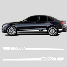 Edition 1 Side Stripe Skirt Sticker Carbon Fiber Viny for Mercedes Benz C Class W205 C180 C200 C300 C350 C63 C43 AMG Accessories 2pcs for mercedes benz g63 amg performance edition side sports stripe w463 g65 skirt vinyl decals sticker black 5d carbon