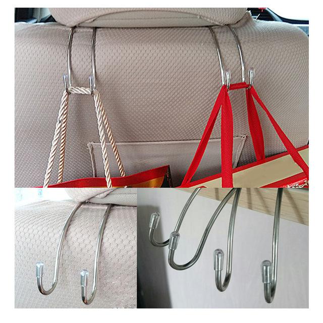 Clips Automotive Metal Car Seat Hook Auto Headrest Hanger Bag Holder for Car Bag Purse Cloth Grocery Storage Auto Fastener