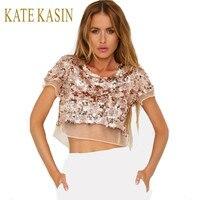 Kate Kasin Sexy Ladies Tops Sequins Shirt Women Crop Tops Tees 2017 Summer T Shirts Women