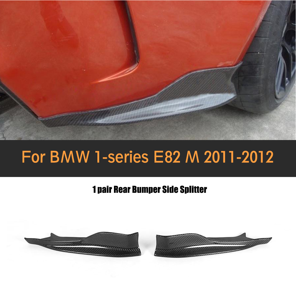 1 Series Carbon Fiber Rear Bumper Lip Diffuser Apron Splitter for BMW 1M E82 M Only 2011 - 2017 Black FRP Car Styling universal matt black frp car styling front bumper lip splitter apron for bmw audi volkswagen toyota nissan mitsubishi