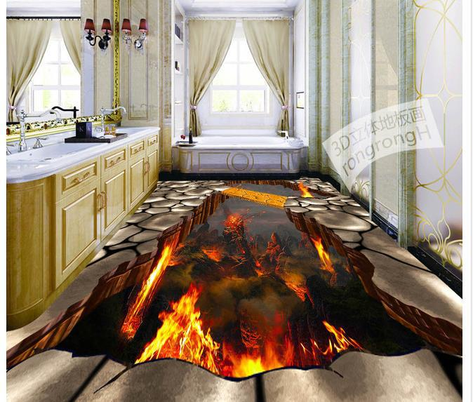 Custom photo floor wallpaper 3d stereoscopic 3d lava stone for 3d murals for sale