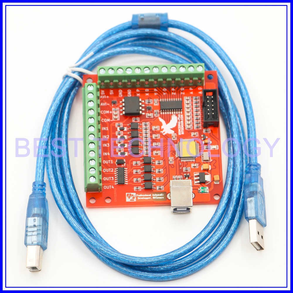 4 Axis USB Motion Controller Interface Board MACH3 system PWM control 100KHz support Win XP Win