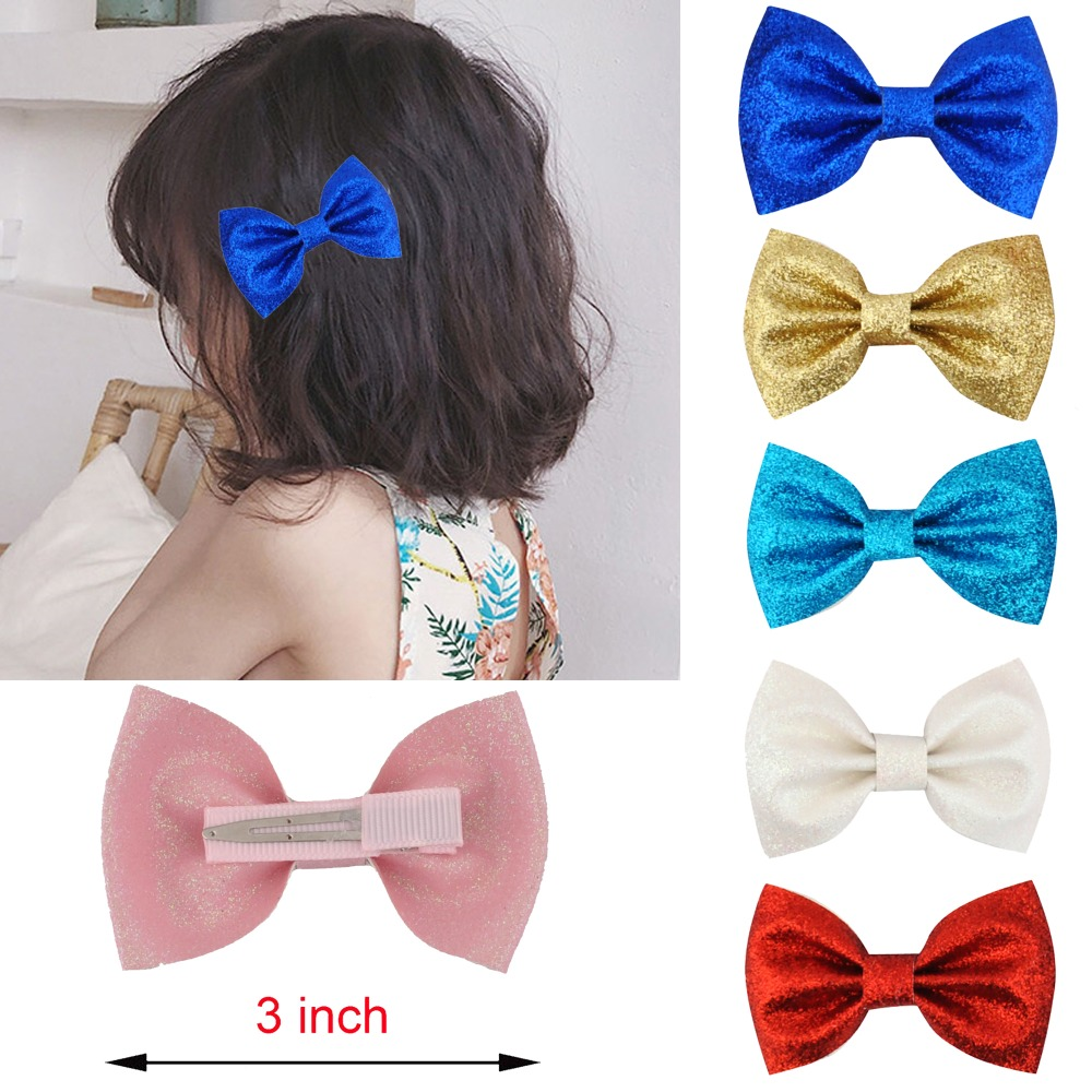 Ruoshui 3Inch Glitter Hairbow Fashion Boutique Hairpins Leather Hair Clips Gift Barrettes Headwear Bows For Girl Kids Children