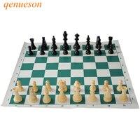 Новинка; Лидер продаж высокое качество Стандартный шахматы твердые деревянные штук шахматы Портативный путешествия кожа шахматная доска в...