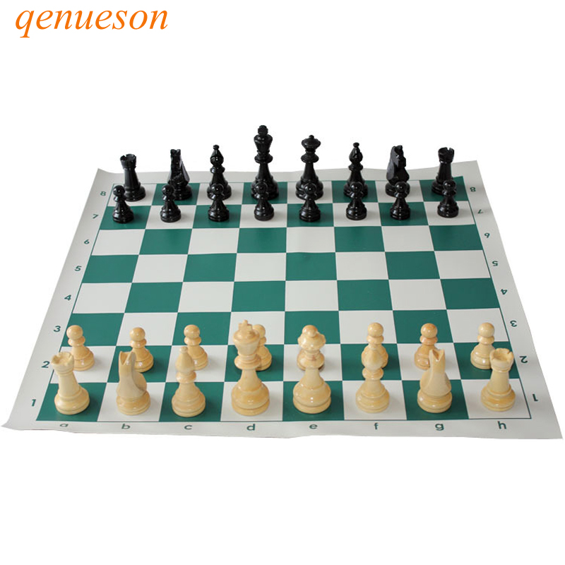 купить New Hot high quality Standard Chess Solid Wooden Pieces Chess Set Portable Travel Leather Chess Board Adult Children Puzzle Game