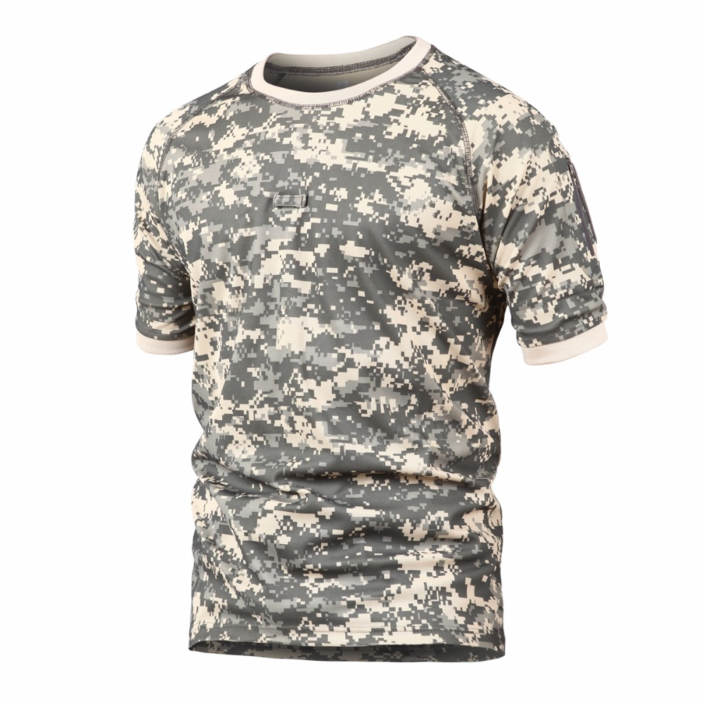 Men Outdoor Camouflage Hiking T Shirt Plus Size Solider Army T Shirt Men Quick Dry Tactical T Shirt Breathable Sports T Shirt