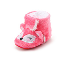 Delebao Cotton Fabric Warm Boots Infant Toddlers Baby Girl Shoes Pink Fox Soft Sole