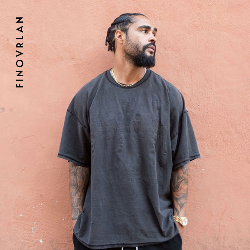 Kanye West Vintage Oversized T-Shirt Men Hip Hop Heavy Washed T Shirts For Men O Neck Top Tees Male Short Sleeve Streetwear