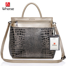 WHORSE LOGO W160664 ! Crocodile Women Genuine Leather Embossed Bag Famous Brand Handbag Luxury Cowhide Shoulder Messenger Bags