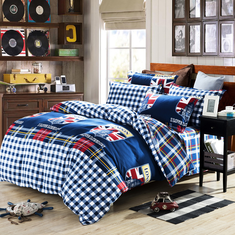 100 Cotton Bedding Set Plaid Uk London Bed Linen Duvet Cover Set
