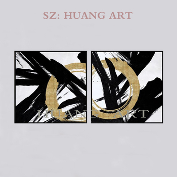 Black and white combination abstract modern abstract great large oil painting art painting 2 p painting of the sitting room deco