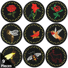 Iron on Patches Sewing Embroidered Applique for Jacket Clothes Stickers Badge DIY Apparel Accessories Round Black Rose Bird Bee(China)
