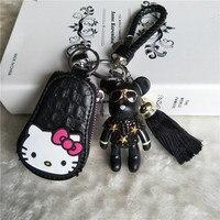 Cute Handmade Leather Rope Tassel Keyring Cartoon DIY Rhinestone Bear Keychain KT Key Bag Key Holder