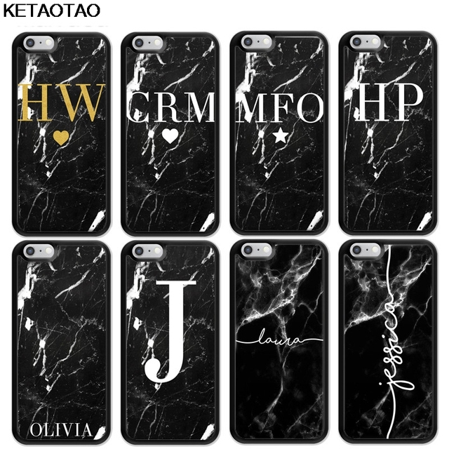 on sale e919c 25e5d US $3.69 26% OFF|KETAOTAO PERSONALISED Black MARBLE INITIALS Phone Cases  for iPhone 4S SE 5 6 5C 5S 6S 7 8 Plus X Case Soft TPU Rubber Silicone-in  ...