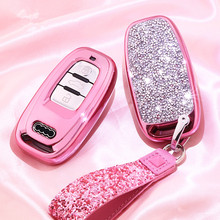 Diamond Car Key Cover Case For Audi A6L A4L Q5 A3 A4 B6 B7 B8 Smart Key Chain Keyring for Girls Women Gifts Shell Accessories
