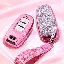 Nouveau diamant voiture clé housse pour Audi A6L A4L Q5 A3 A4 B6 B7 B8 Smart porte clés pour filles femmes cadeaux accessoires de coque