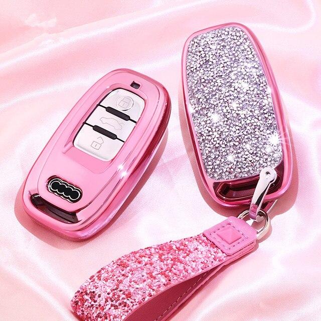 Nueva funda de diamante para llave de coche para Audi A6L A4L Q5 A3 A4 B6 B7 B8 llavero inteligente para niñas y mujeres regalos accesorios de concha