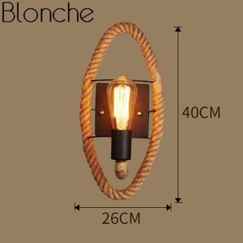 Винтаж настенный светильник пеньковая веревка настенный светильник в стиле ретро гладить индустриальный Лофт для Гостиная декор для ресторана бра E27 светильник