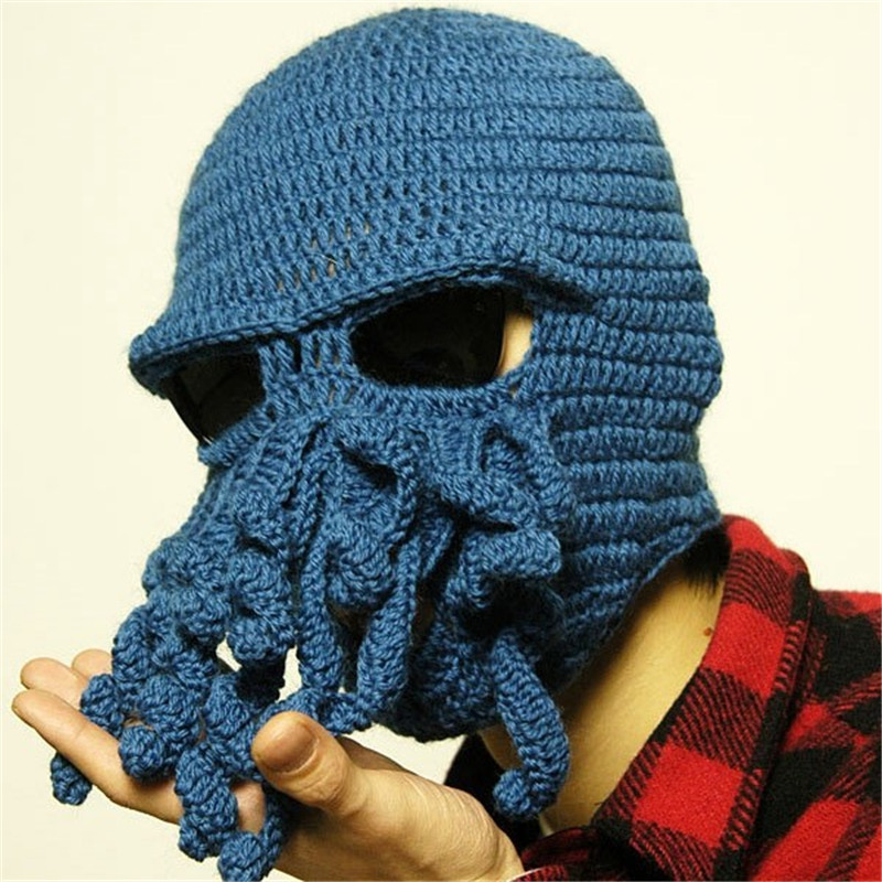 Novelty Handmade Knitting Wool Funny Beard Octopus Hats Caps Crochet Knight Beanies For Men Unisex Gift  On Sale bomhcs funny wigs beard handmade knitting hats wanderers cap helloween party gifts