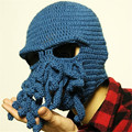 Novelty Handmade Knitting Wool Funny Beard Octopus Hats Caps Crochet Knight Beanies For Men Unisex Gift  On Sale