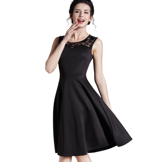 Nice-forever New Elegant Ladylike Stylish Lace Charming Sexy Women O Neck Sleeveless Vintage Ball Gown Little Black Dress A008