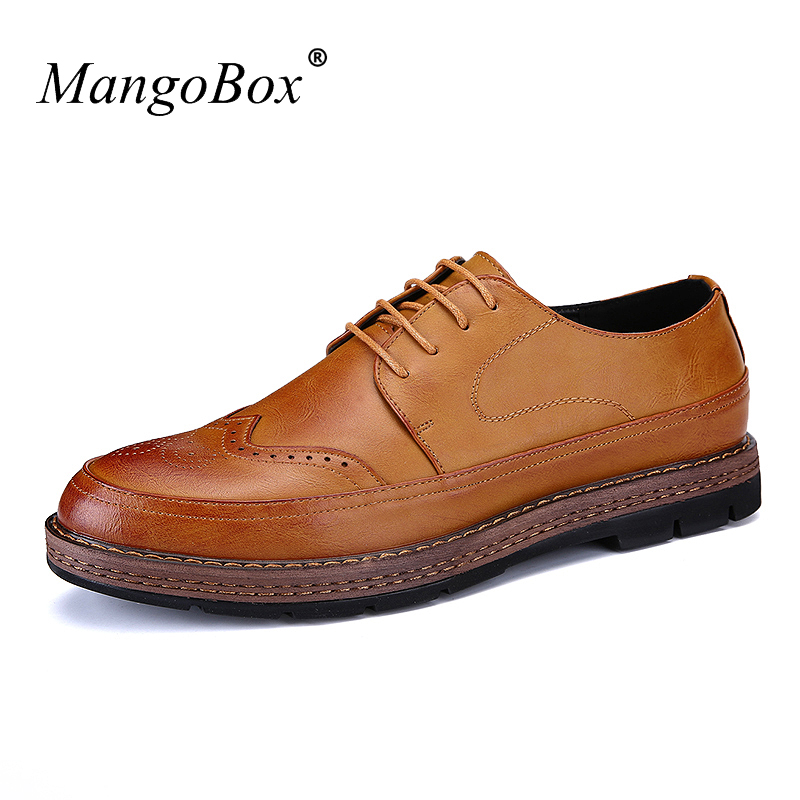 MangoBox Adult Men Dress Shoes Top Quality Casual Sneakers for Men British Style Men Office Shoes Yellow Brown Boys Footwear
