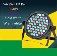 54X3W led par DJ Par LED RGBW UV cold white wram white Wash Disco Light DMX Controller Free Shipping