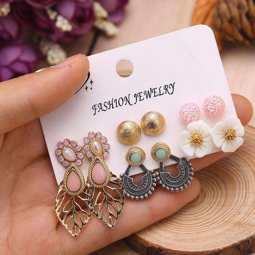 European and American style stud earring set earrings charm female earrings bohemian design Brincos stone earrings jewelry 2019