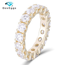 DovEggs Elegant 14K 585 EF color Moissanite Yellow Gold 3.5mm Eternity Matching Engagement Band for Women Fine Jewely