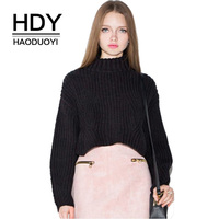HDY Haoduoyi Casual Women Sweater 2017 Winter Lady Turtleneck Long Sleeve Pullovers Solid Black Loose Short