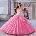 Rosa Fúcsia Azul Royal Vestidos Quinceanera com Jacket Frisada Bordados Doce 15 Dresses vestido de quinceanera