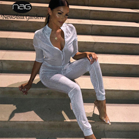 NewAsia Sexy Jumpsuit Silver Sequin Jumpsuits For Women 2018 Long Pants Body Mujer Rompers Womens Jumpsuit Overalls Playsuit New