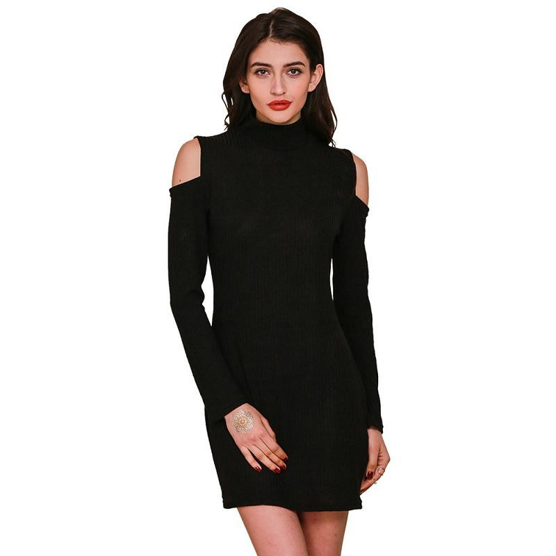 2016 Autumn New Casual Vintage Sexy Bodycon Bandage Slim Off Shoulder Turtleneck Long Sleeve Women Mini Short Knitted Dress