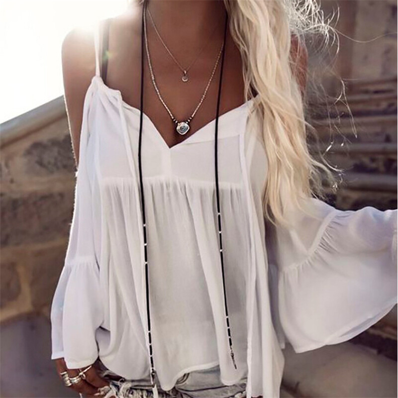 hirigin 2017 Off Shoulder <font><b>Blouse</b></font> Shirt Women Summer New Fashion Sweet <font><b>deep</b></font> <font><b>V</b></font> Neck Tops cut up <font><b>Sexy</b></font> white <font><b>blouses</b></font> Ladies famale image