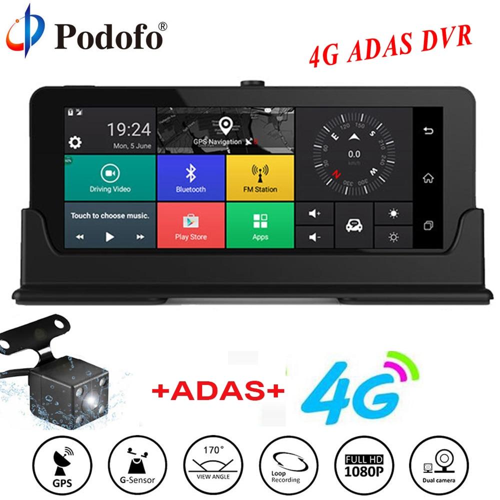 Podofo Voiture DVR GPS Navigation Dashcam 7 4G ADAS Tactile Voiture Caméra WiFi Bluetooth FHD Dvr Rétroviseur Camera Recorder Registraire