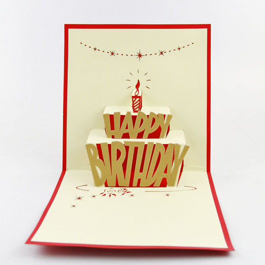 Birthday cake gold 3d pop up greeting cards anniversary for Pop up birthday cards for mom